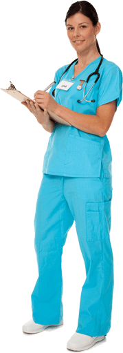 Smiling woman in scrubs writing on a clipboard